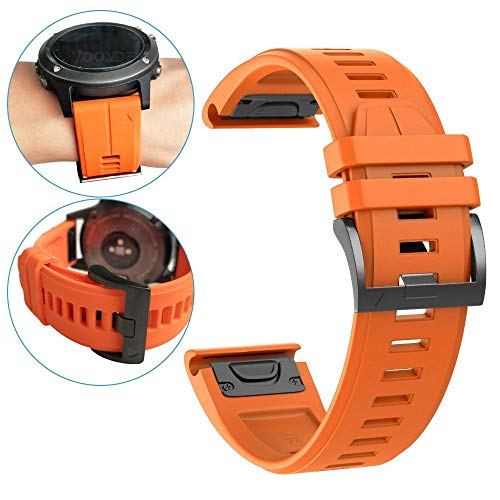 YOOSIDE Cinturino per Garmin Fenix 5, 22mm in Silicone Impermeabile Cinturino di Ricambio per Garmin Instinct/Fenix 5/5 Plus/Forerunner 935 / Approach S60 / Quatix 5, Nero (Arancio)