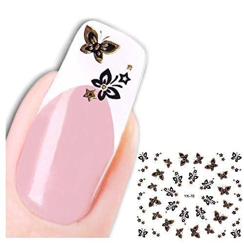 JUSTFOX - 3D Uñas adhesivo nail Art diseño de mariposas Cult water Decall pegatinas