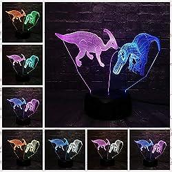 Nuevo Jurassic park Dinosaur Mix Lámpara de doble color Luz nocturna 3D LED para niños Baby Sleep Light Boy Regalo Cartoon Kid Base Light