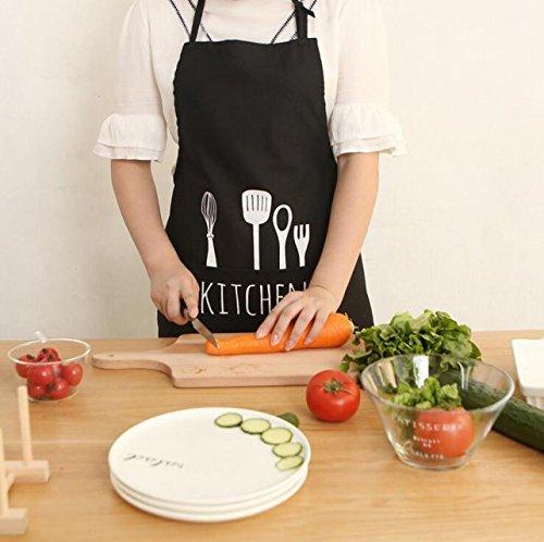 Delantal ajustable del babero de YoHom con 1 bolsillos que cocina los delantales de la cocina para las mujeres Cocinero de los hombres, negro