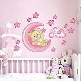 Wall Art r00317Pegatinas de Pared para niños, pequeño oso Buena de noche de luna, 60x 40x 0,1cm, color rosa y multicolor
