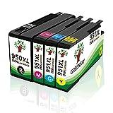 GREENSKY Kompatible für HP 950XL 951XL Tintenpatronen Ersatz für HP 8600 8610 8615 8620 8625 8630 8640 8660 8100 251dw 276dw Drucker - (1 Schwarz 1 Blau 1 Rot 1 Gelb)