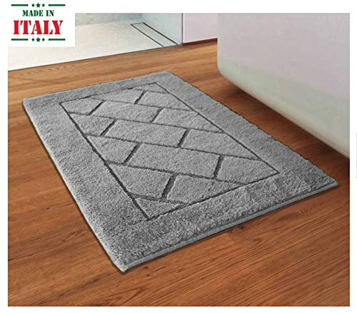 CASA TESSILE Tappeto da Bagno Antiscivolo Megane - Grigio Perla, 60x120 cm.