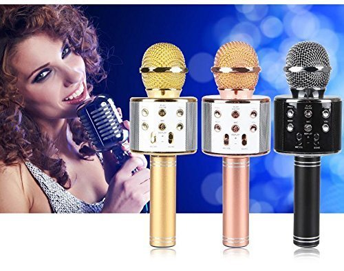 Spirili WS-858 Wireless Bluetooth Microphone with Speaker/Recoding Feature for All iOS/Android & Windows Smartphone Device (Random Colour)