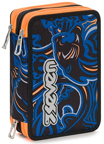 Astuccio 3 Zip Seven Wildy Boy, Blu, Con materiale scolastico: 18 pennarelli Giotto Turbo Color, 18...