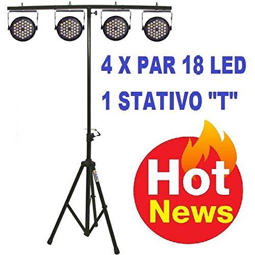 Set di effetti luci impianto luci led discoteca teatro dj deejay 4 PAR 18 LED RGB DMX + STATIVO LUCI...
