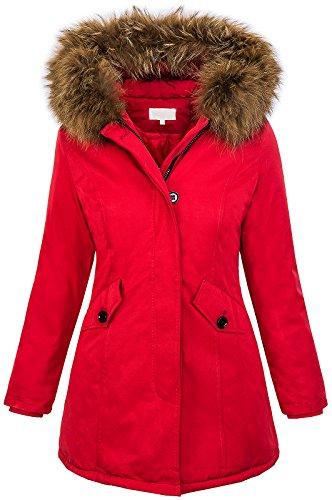 Giacca da donna con vera pelliccia, invernale, con cappuccio D-204 D-204-Rot S