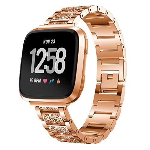 por Fitbit Versa Reloj Deportivo, � Zolimx de Lujo de Repuesto de Acero Inoxidable Correa de Pulsera de Cristal para Fitbit Versa