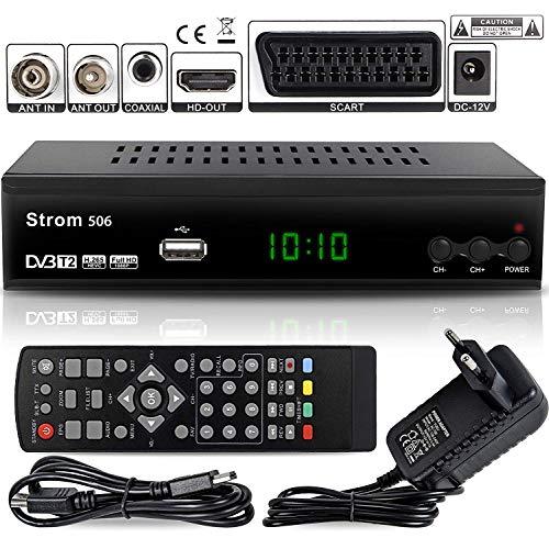 Strom 506 DVB-T2 Digital Receiver - { Terrestrisch TNT } ✓DVB-T / DVB-T2 ✓Full HD ✓MPEG 2 ✓MPEG 4 ✓H.265 ✓1080i ✓1080p ✓ Einfache Installation - Schwarz
