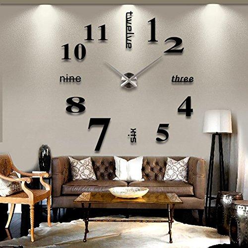 MFEIR Modern Wall DIY Orologi da parete Grande Guarda Decor Adesivi effetto specchio acrilico decalcomania domestica di vetro rimovibile Decoration Nero