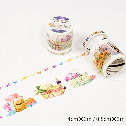 WRITIME Cinta Adhesiva Washi Tape Set de 2/Serie de control de admisión de acuarela y cinta de papel 2 Rollo en cuenta Diario Decoración Clip completo Rollo de cinta pintada a mano, Cesta 4Cmx3M Butterfly