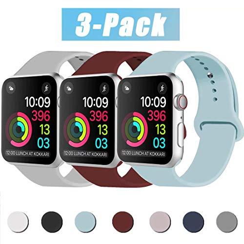INZAKI Compatibile con Cinturino Apple Watch 38mm 40mm, Cinturino di Ricambio Sportivo Classico in Silicone Morbido per Braccialetto per iWatch Serie 5/4/3/2/1,M/L, Turquoise/Vino Rosso/Gray