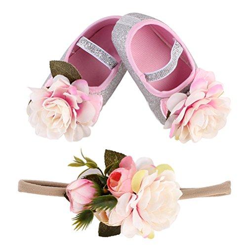 BESTOYARD Scarpine e fascia capelli con fiori per neonata da fotografia e regalo di 13 cm in Rosa