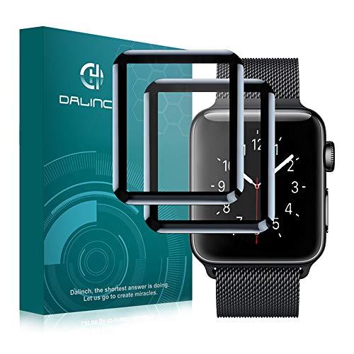 Pellicola Vetro Temperato Apple Watch 42mm Serie 1/Serie 2/Serie 3, [2 Pezzi] Dalinch iWatch Pellicola Protettiva [3D Vetro Temperato] Anti-Bolla, Compatibile con cover Resistente ai Urti per Apple Or