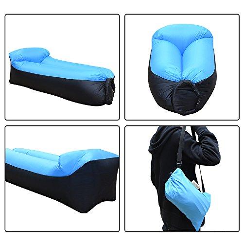 iRegro wasserdichtes aufblasbares Sofa mit integriertem Kissen, tragbarer aufblasbarer Sitzsack, Aufblasbare Couch, aufblasbares Outdoor-Sofa für Camping, Park, Strand, Hinterhof (blauschwarz) - 3
