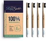 4x Spazzolino da denti in legno di bambù, setole morbide e facili da distinguere, senza confezione in plastica, carbone di bambù per denti bianchi e sani di RAY OF SMILE