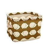 Tessuto Ruikey cubi portaoggetti pieghevole mini cosmetici Toys nursery organizer Bins quadrata con impugnatura, Tessuto, Brown, 20.5*16.5*13.5CM
