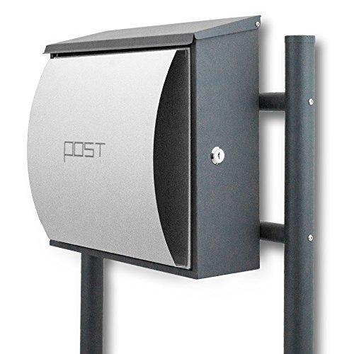 BITUXX® Design Standbriefkasten Briefkastenanlage Seitenschloss und Zeitungsfach Dunkelgrau/Hellgrau