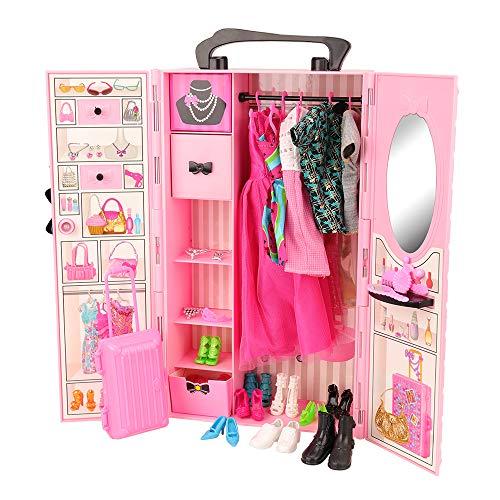 Miunana 44 Accessories: Armadio + 8 Abiti Vestiti + 10 PCS Scarpe per Barbie Dolls Bambola + 2 Abiti...