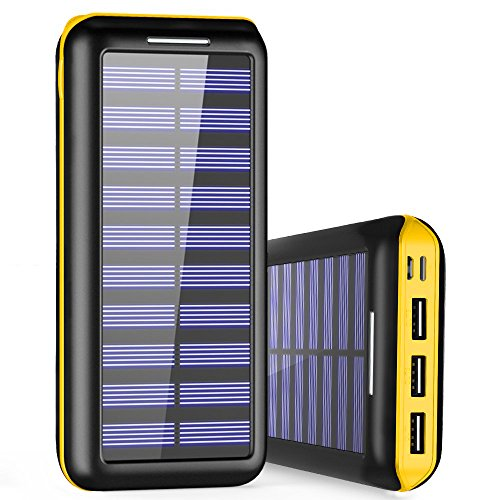 Externer Akku PLOCHY 24000mAh Solar Powerbank, Solar Ladegerät mit 3 Ausgänge und Lighting & Micro Dual Input Power Bank Handy für iPhone, iPad, Samsung Galaxy und andere Smartphones(Gelb)