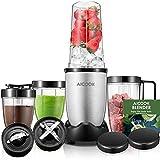 Aicook Mixer, Smoothie maker, 900W Standmixer für Smoothies, Früchte und Shakes, 2 Edelstahlmesser, 4 BPA-freie Tritan-Trinkflasche, Blender mit gebürstetem Edelstahlgehäuse