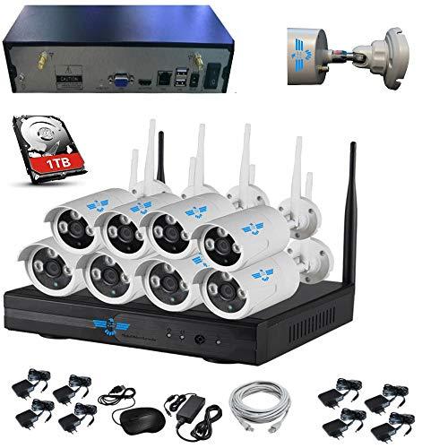 ITALIAN ALARM Kit 8 Telecamere wireless WiFi videosorveglianza esterno + HDD 1TB, APP Android/IOS,...