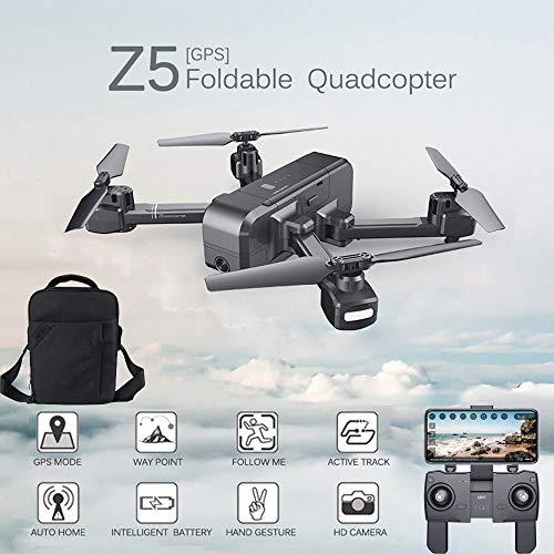 Fascino-M  Z5 WiFi FPV con Videocamera 1080p Doppio GPS Dinamica Follow Rc Drone Quadricottero Drone Quadcopter + Custodia da Trasporto Portatile Zaino Impermeabile + Batteria (Z5 + Zaino)