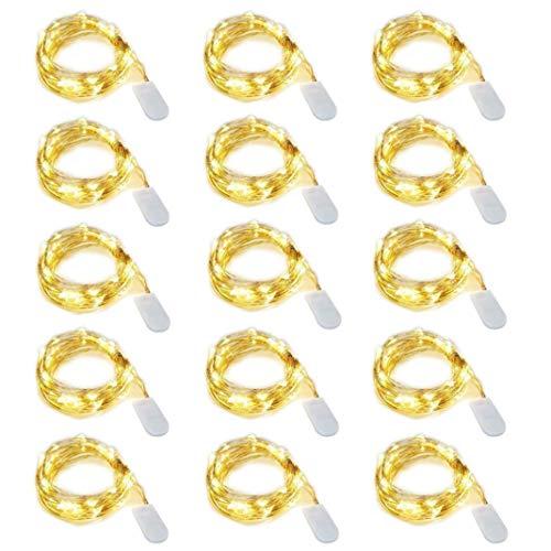 15 pezzi Dioxide 20 LED 2M Mini Lampada a fili di rame Bianco Caldo, Luci stringa LED Luci...