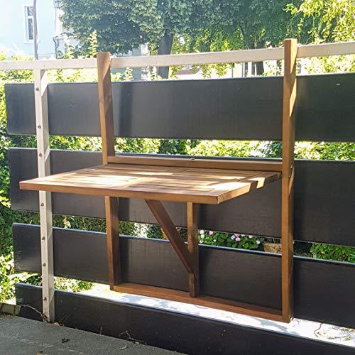 XINRO® Balkonhängetisch Klapptisch für Balkon Akazienholz Hängend 64,5x44,5x80cm Balkontisch Hängetisch Balkon Holzhängetisch