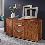 G Fine Furniture Wooden Sideboard Cabinet for Living Room | Kitchen Storage Side Board with 3 Drawer Shelf | Sheesham, Brown