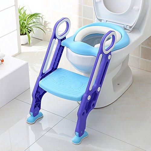 BAMNY Siège de Toilette Enfant Pliable et Réglable, Reducteur de Toilette Bébé avec Marches...