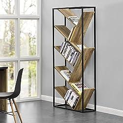 [en.casa]® Design Bücherregal- Wohnzimmer Regal - Holzfarben - 180x80x30 cm