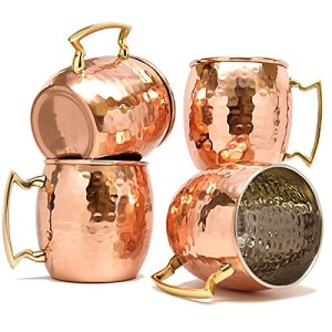 Terashopee (Set of 4) Copper Mug for Moscow Mules 560 Ml / 18 Oz Inside Nickle Hammered Best Quality Lacquered Finish Mule Cup, Moscow Mule Cocktail Cup, Copper Mugs, Cocktail Mugs by TeraShopee 2