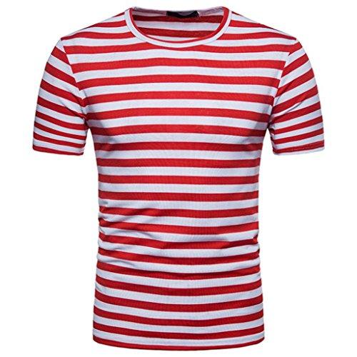 FAMILIZO Camisetas Manga Corta Hombre Moda Camisetas Hombre Algodón Camisetas Hombre Verano Blusa Hombre Manga Corta Tops Camisetas Hombre Rayas T Shirts For Men Blusa Hombre Blanca (L, Rojo)