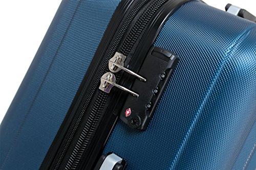 BEIBYE TSA-Schloß 2080 Zwillingsrollen 3 tlg. Reisekofferset Koffer Kofferset Trolley Trolleys Hartschale (Hellblau) - 2