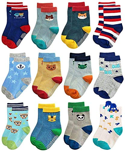 Trendy Dukaan Baby Boy's Cotton Grip Sock (Colours and Design May Vary, 12-18 Months) - Pack of 6