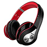 Mpow Bluetooth Headphones [High Quality] Over Ear Headphones, Stereo Foldable Headphones Wireless Headphones with Soft Earmuffs, Built-in Mic for Mobile Phone TV PC Laptop (Storage Bag Included, Black & Red)
