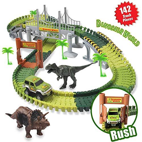 ACTRINIC Pista de Carreras Juguetes de Dinosaurios Mundo Jurásico 142 Pistas Flexibles Que Incluyen 2 Dinosaurios 1 Vehículo Militar 4 Árboles 2 Pendientes 1 Puerta Doble y 1 Puente Colgante Infantil