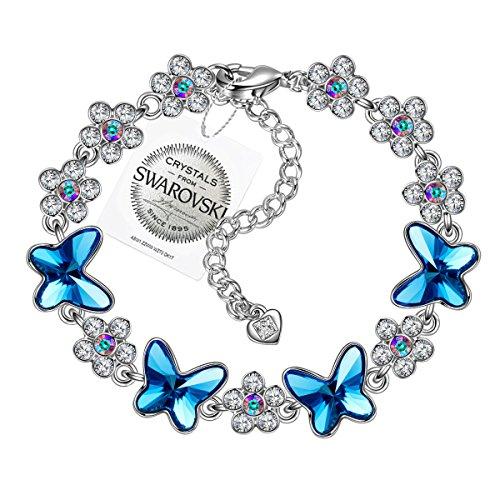 PAULINE&MORGEN Alegría de la Primavera Pulsera para Mujer fabricados con cristales SWAROVSKI mariposa azul