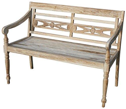 KMH®, Teak 2-sitzer Gartenbank Harry (115 cm) im Shabby Chic Stil - whitewashed (#102142)