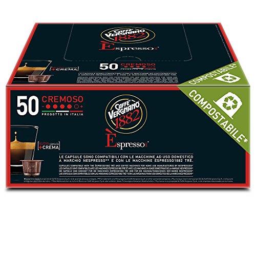 Caffè Vergnano 1882 Èspresso Cremoso, 50 Capsule, Compatibili Nespresso