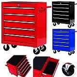 Masko® Werkstattwagen - 5 Schubladen, rot ✓ Abschließbar ✓ Massives Metall | Mobiler Werkzeug-Wagen ohne Werkzeug | Profi Werkstatt-Wagen unbestückt | Rollwagen zur Werkzeugaufbewahrung mit Schloss