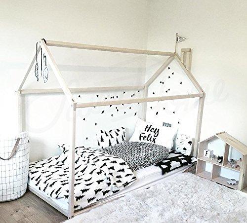 Sweet Home di Legno casa Letto Letto Pavimento Legno Montessori Letto Matrimoniale (200x 90cm)