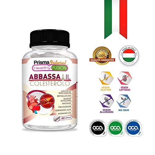 Integratore di Riso Rosso + Coenzima Q10 | Con Betaglucano + Resveratrolo + Maitake + Mango Africano e Vitamina D - 60 capsule
