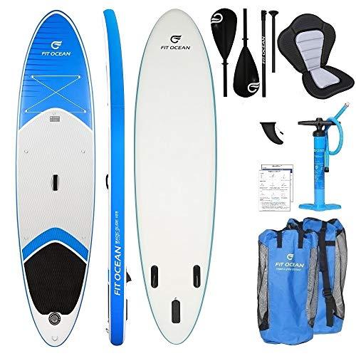 FIT OCEAN MAGIC GLIDE 10\'8. Aufblasbares 15 cm dickes Stand Up Paddelboard. Board+Kajak Sitz+Dual Paddel+Doppel Action Pumpe+Rucksack