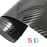 GOGOLO Ultra Brillante 5D impermeable automóvil vinilo envoltura de fibra de carbono burbuja libre de vinilo adhesivo etiqueta de envoltura de calcomanías exteriores y decoración interior de bricolaje 59,8 'x 19,7' para el teléfono / coche / PC / moto / bicicleta / guitarra