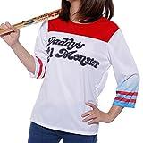 Disfraz de Mujer Chica Cosplay 3/4 Manga Camiseta de Harley Quinn Suicidio Squad Lil Monstruo del Papá Daddy's Lil Monster para Fiesta Carnaval Halloween (38, camiseta normal)