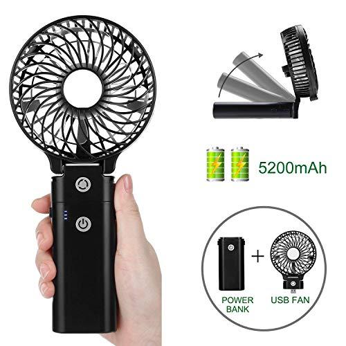 COMLIFE Mini Ventilatore Portatile Palmare Pieghevole da Tavolo con 5200mAh Batteria Ricaricabile...