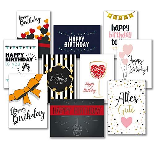 30 Premium Geburtstagskarten und Umschläge - inklusive E-Paper mit den schönsten Geburtstagsgrüßen für den Selbstdruck - 10 hochwertige Geburtstagskartendesigns - 100{47d4f5b0583a4933584d2b68e31f64d766d6248dca82676244f4a477af756f82} Made in Germany - von Davom