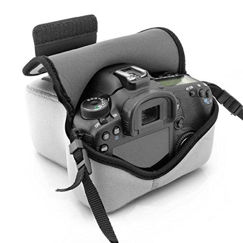 Kameratasche für Spiegelreflexkameras von USA Gear: Kamera-Schutzhülle aus hochwertigem Neopren für DSLR/SLR, mit Zubehörtasche, Grau, ideal für Canon EOS 1300D/200D, Nikon D3400 & mehr